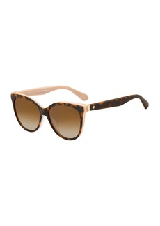 kate spade new york daeshas round polarized acetate sunglasses  brown/pink