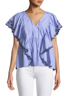 Kate Spade daisy embroidered flounce top