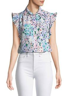 Kate Spade daisy garden ruffle-sleeve top