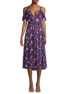 Kate Spade Daisy Satin Floral Midi Dress