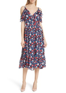 kate spade new york daisy satin stripe midi silk dress