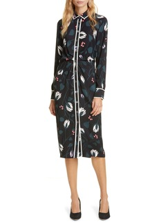 kate spade new york deco bloom long sleeve crepe shirtdress