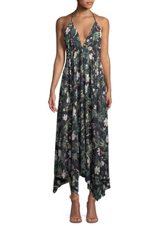 kate spade new york deep-v floral-print maxi coverup dress