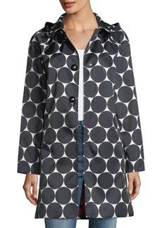 kate spade new york dot button-front hooded rain coat