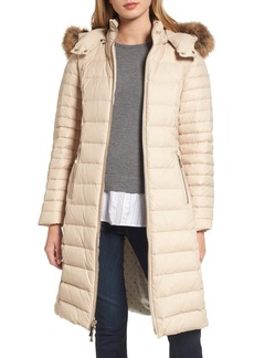 kate spade new york down puffer coat with faux fur trim