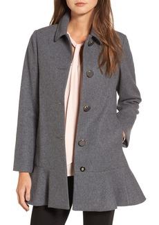 kate spade new york drop waist wool blend flounce coat (Regular & Petite)