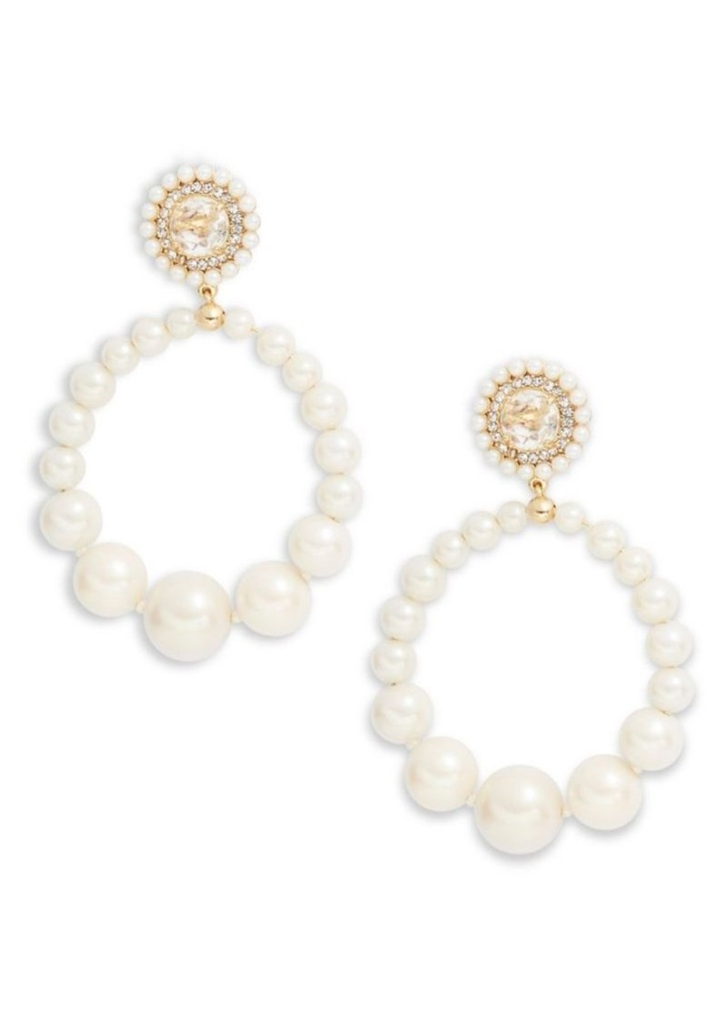 Kate Spade New York Luminous Elegant Faux Pearl Hoop Earrings