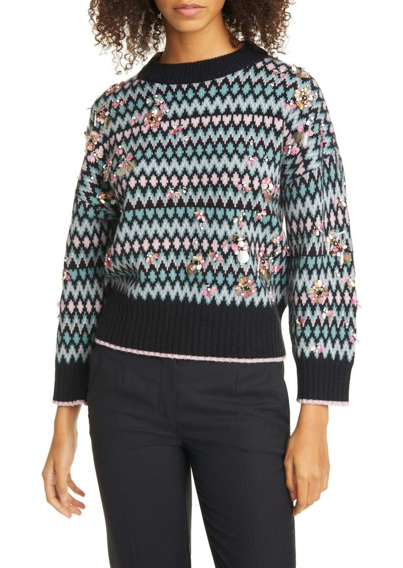 kate spade new york embellished merino wool & cashmere fair isle sweater