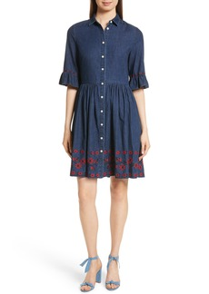 kate spade new york embroidered chambray shirtdress