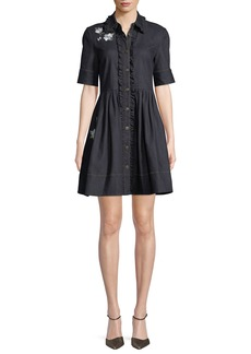 kate spade new york embroidered denim mini shirt dress