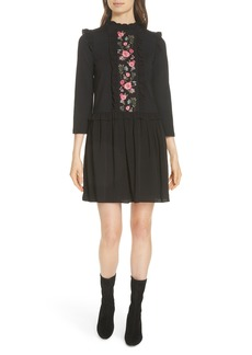 kate spade new york embroidered mixed media dress