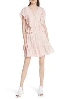 kate spade new york embroidered cotton & silk chiffon dress