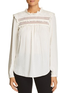 kate spade new york Embroidered Swiss-Dot Cotton Top