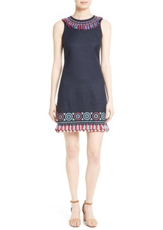 kate spade new york embroidered tassel sheath dress