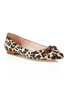 kate spade new york Emma Leopard Print Calf Hair Bow Flats