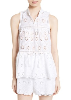 kate spade new york eyelet embroidered tiered top