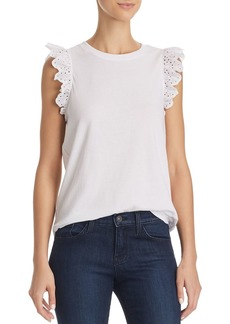 kate spade new york Eyelet-Ruffle Sleeveless Tee