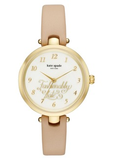 kate spade new york fashionably late leather strap watch, 34mm