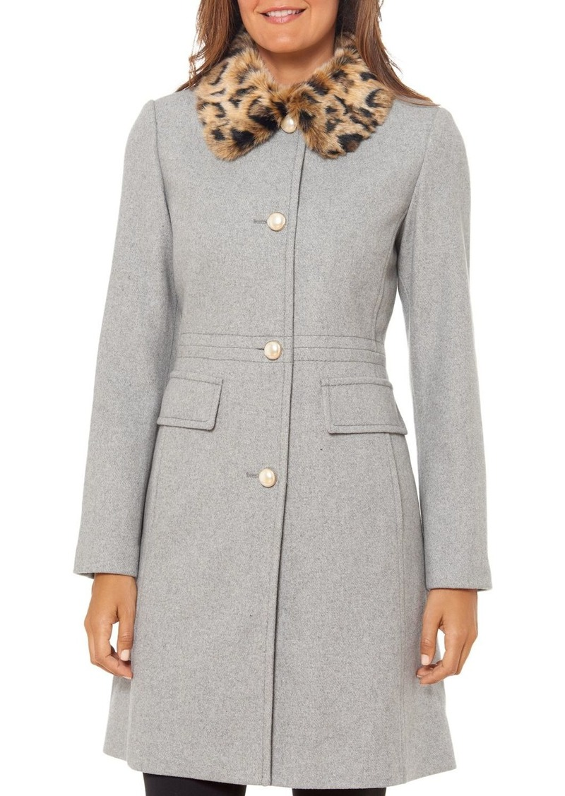 kate spade new york Faux Fur-Collar Coat