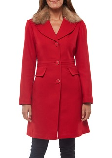 kate spade new york faux fur collar wool blend coat