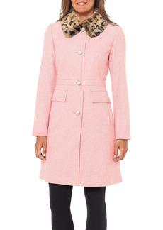 kate spade new york faux fur collar wool blend coat