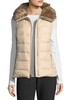 kate spade new york faux-fur packable puffer vest with bow-detail