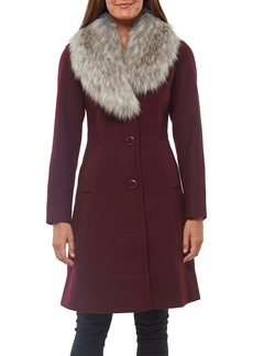kate spade new york faux fur shawl collar fit & flare coat