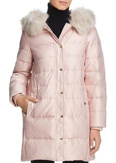 kate spade new york Faux Fur Trim A-Line Puffer Coat