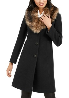 Kate Spade New York Faux-Fur-Trim Coat, Created for Macy's