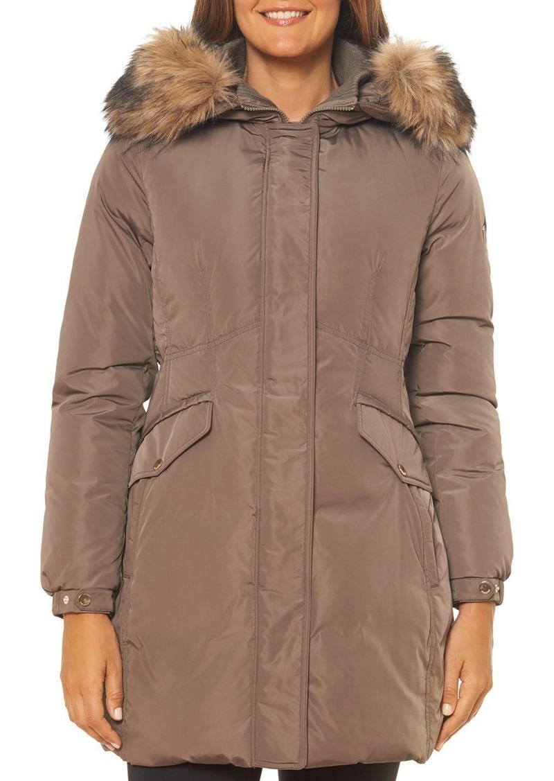 kate spade new york Faux Fur-Trim Fine Oxford Parka