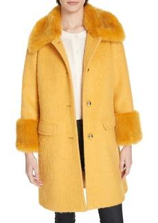 kate spade new york faux fur trim fluffy coat