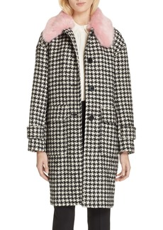 kate spade new york faux fur trim houndstooth coat