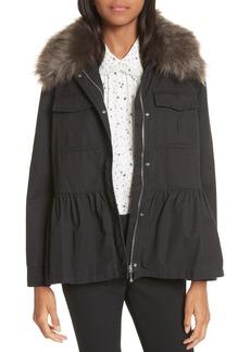 kate spade new york faux fur trim military jacket