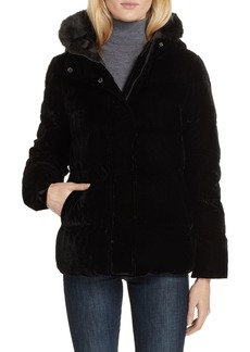 kate spade new york faux fur trim velvet down jacket
