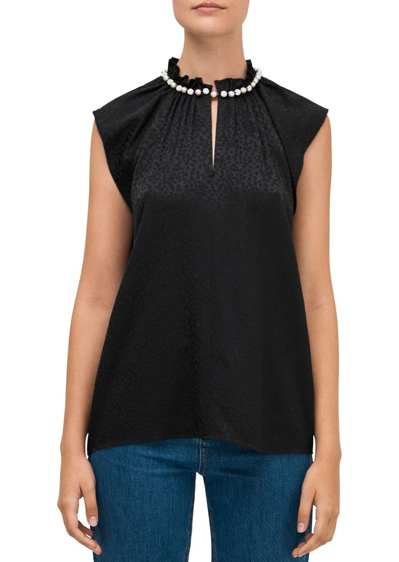 kate spade new york Faux-Pearl-Trimmed Top
