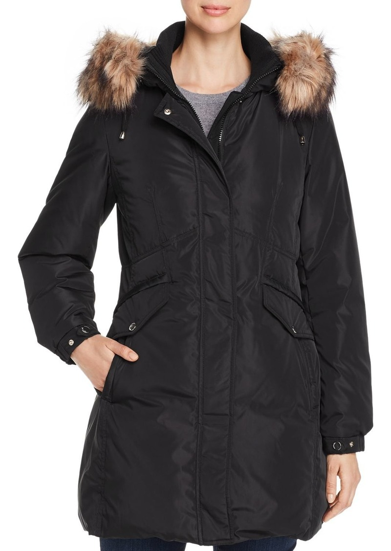 kate spade new york Fine Oxford Faux Fur-Trim Parka