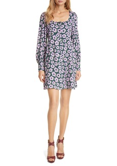 kate spade new york flair floral long sleeve minidress