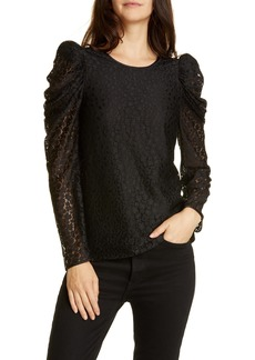 kate spade new york flora leopard lace puff long sleeve blouse
