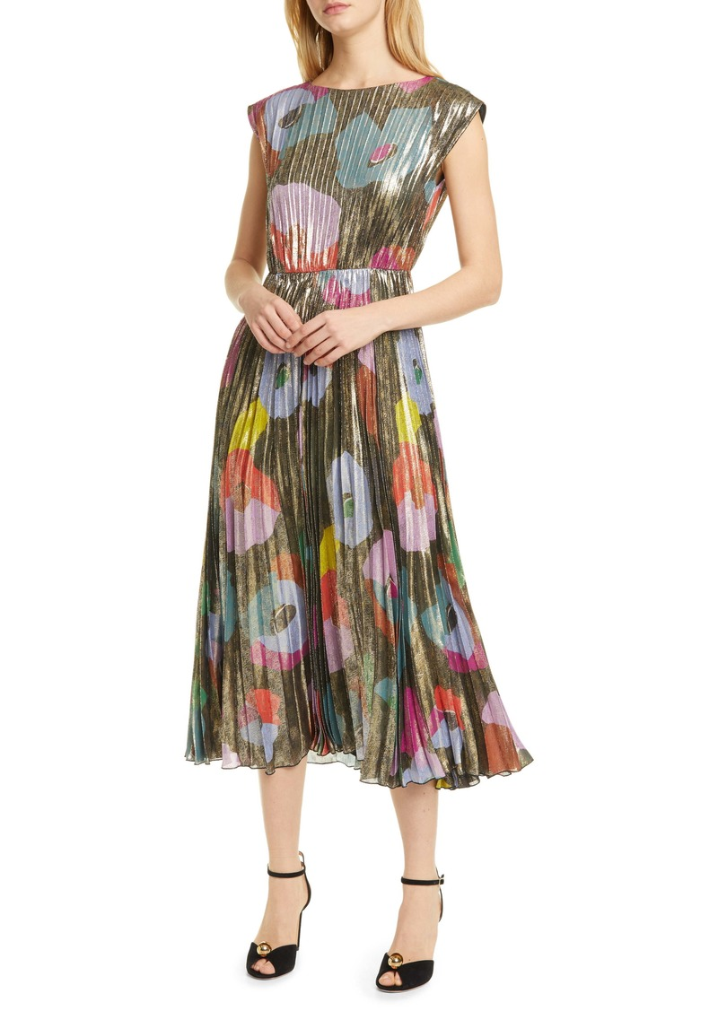 kate spade new york floral collage shimmer pleated dress