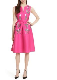 kate spade new york floral embellished fit & flare dress