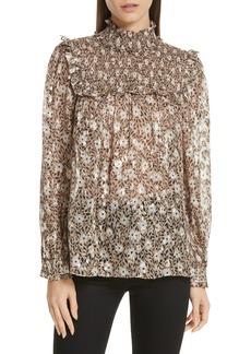 kate spade new york floral park clip dot blouse