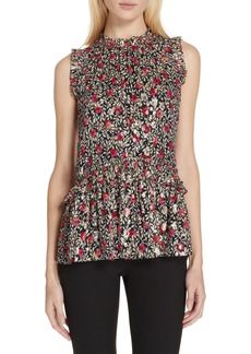 kate spade new york floral park clip dot ruffle blouse