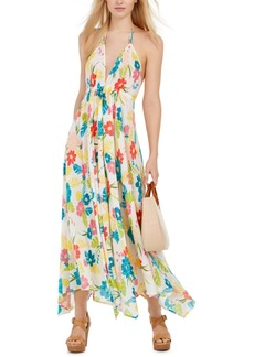 Kate Spade New York Floral Print Halter Maxi Dress Swimsuit Cover-Up Women's Swimsuit
