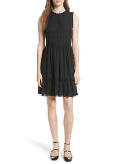 kate spade new york floral trim fit & flare dress