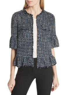 kate spade new york flounced sleeve tweed jacket