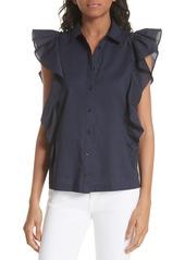 kate spade new york flutter sleeve button down cotton blouse