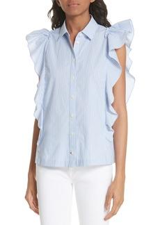 kate spade new york flutter sleeve stripe cotton blouse