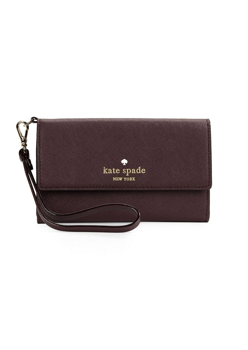 KATE SPADE NEW YORK Fresh Air Leather Tech Wristlet