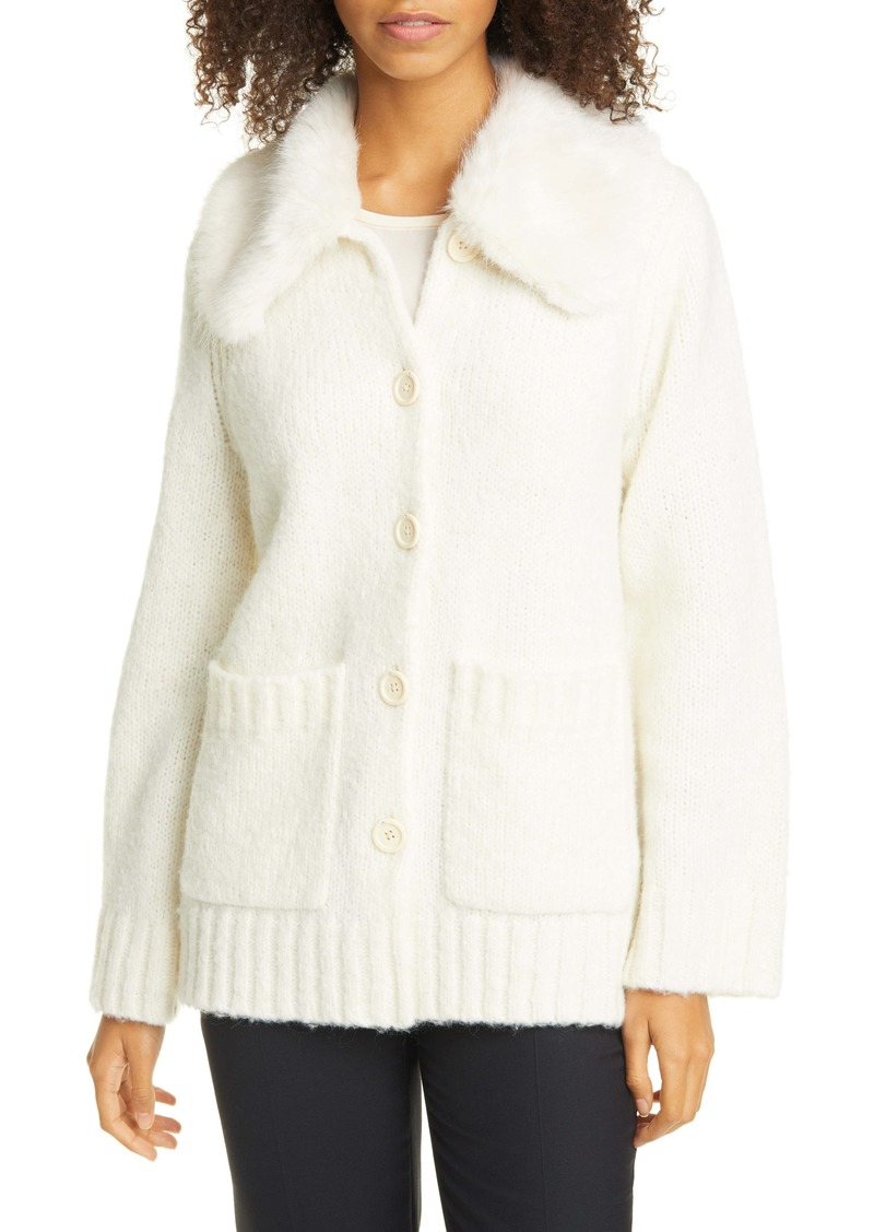 kate spade new york fuzzy cardigan with faux fur collar