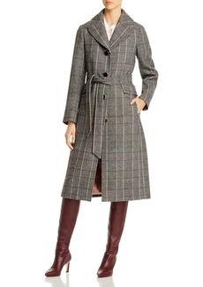 kate spade new york Glen Plaid Belted Long Coat